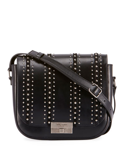 Betty Stud-Stripe Leather Flap Crossbody Messenger Bag
