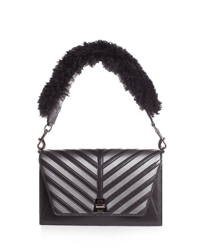 Anouk Small City Oversize-Herringbone Shoulder Bag with Fur Strap