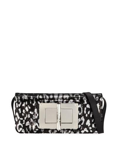 Natalia Jaguar Sequins East-West Clutch Bag