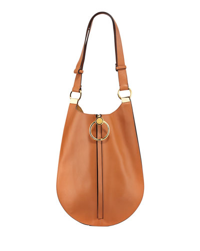 Metal Ring Leather Shoulder Bag