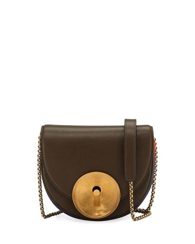 Metal Disk Leather Saddle Bag