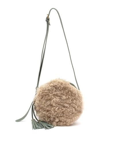 Disco Circle Lamb Shearling & Leather Crossbody Bag