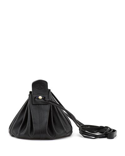 Drawstring Leather Crossbody Pouch Bag, Black