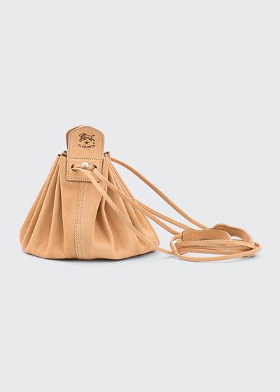 Drawstring Leather Crossbody Pouch Bag, Beige