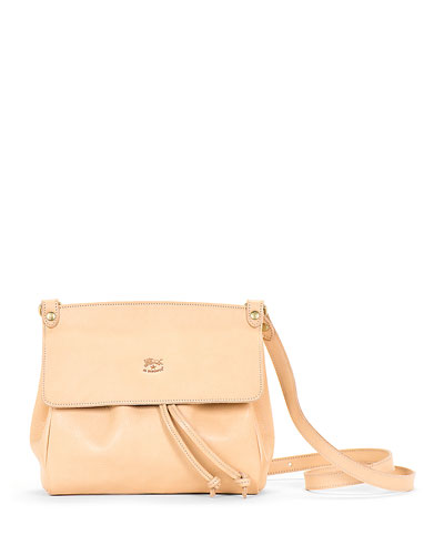 Large Leather Flap Crossbody Bag, Beige