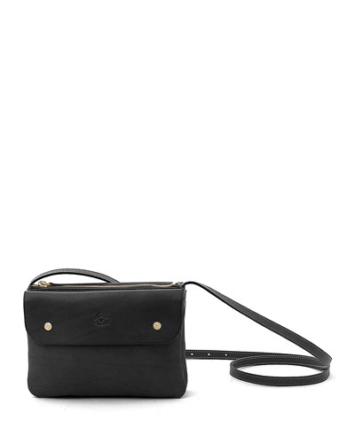 Cowhide Leather Flap Crossbody Bag, Black
