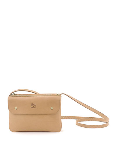 Cowhide Leather Flap Crossbody Bag, Beige