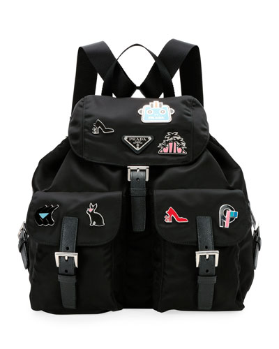 847015d0a27e Nylon Backpack with Graphic Appliqués