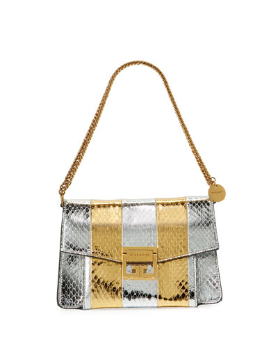 GV3 Metallic Snakeskin Shoulder Bag