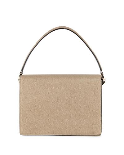 Twist Grained Leather Shoulder Bag