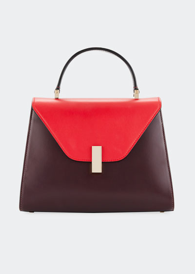 Iside Medium Colorblock Calf Leather Top-Handle Bag
