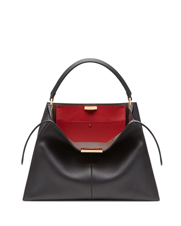 Peekaboo X-Lite Soft Calf Satchel Bag in Black/Red