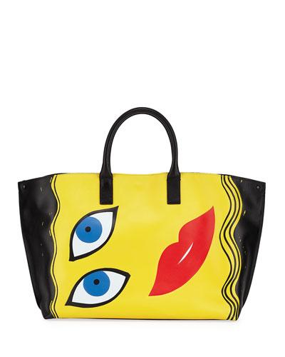 Ai Medium 3D Portrait Top-Handle Tote Bag