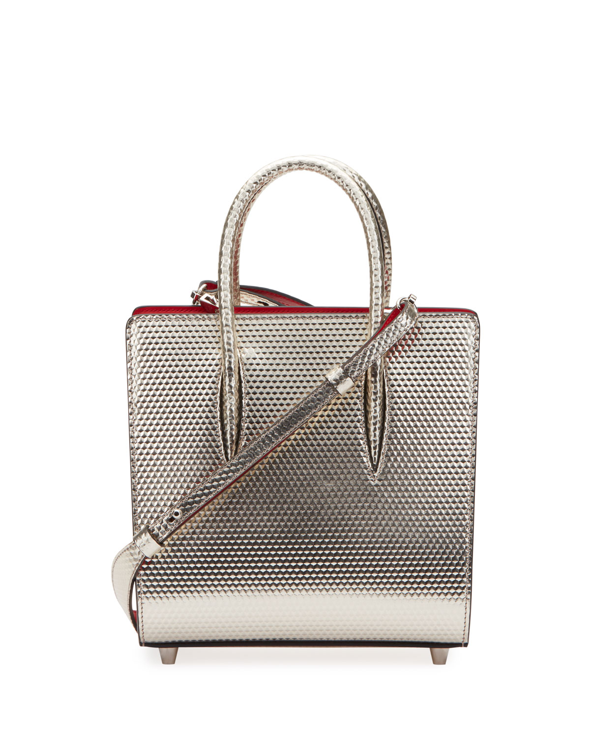 Paloma Small Cubiste Metallic Leather Tote Bag in Silver