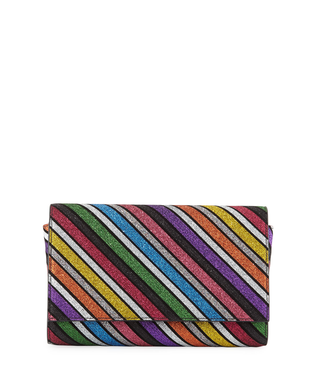 Paloma Striped Suede Clutch Bag in Multi