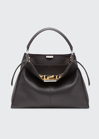 Peekaboo X-Lite Calf Satchel Bag with FF Shearling Trim