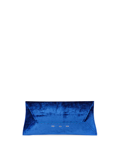Manila Stretch T Velvet Clutch Bag, Blue