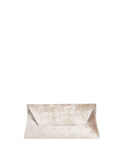Manila Stretch T Velvet Clutch Bag, Light Gray