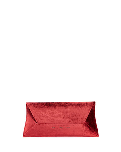 Manila Stretch T Velvet Clutch Bag, Wine