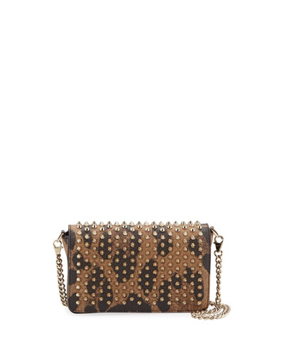 Zoompouch Calf Empire Spikes Leopard Clutch Bag