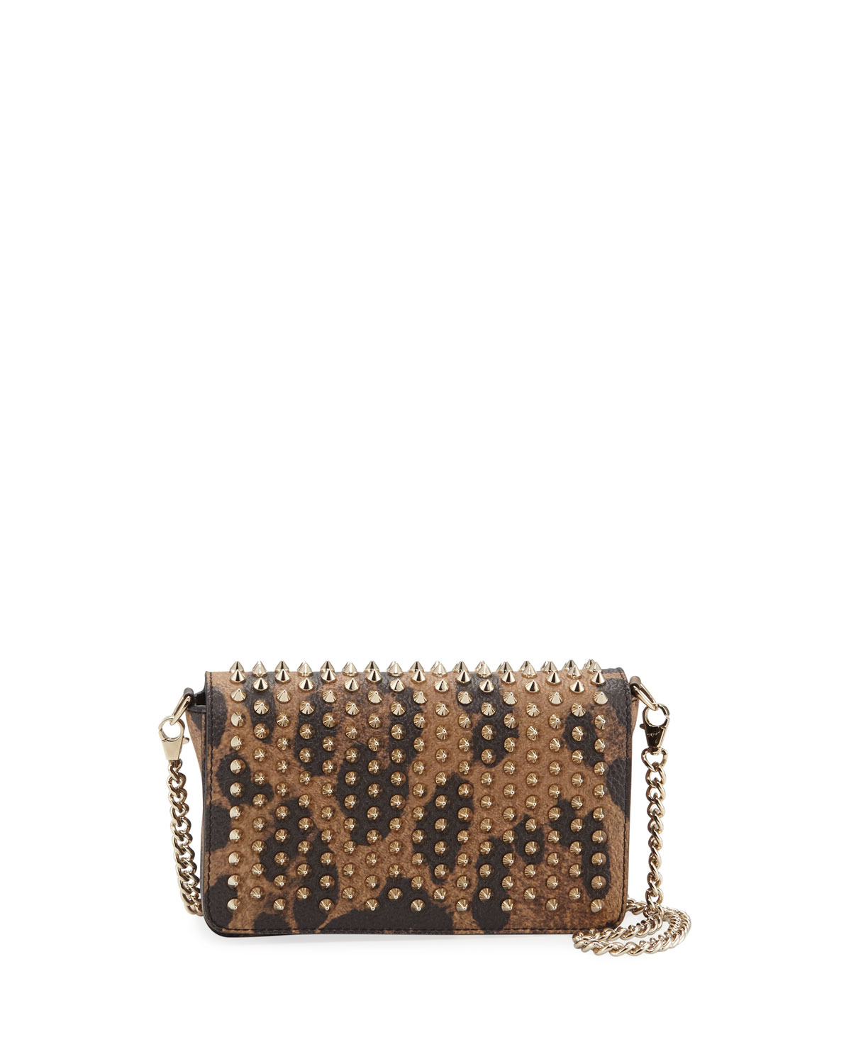 Christian Louboutin ZOOMPOUCH CALF EMPIRE SPIKES LEOPARD CLUTCH BAG
