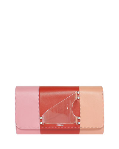 L'Eiffel Colorblock Leather Clutch Bag