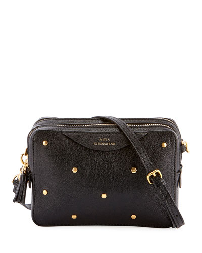Double Studded Crossbody Wallet, Black
