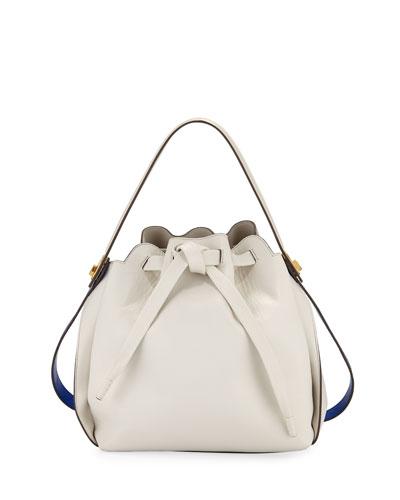 Shoelace Drawstring Small Bucket Bag, Gray