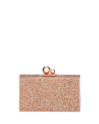 Clara Crystal Box Clutch Bag, Gold