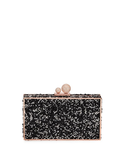 Clara Crystal Box Clutch Bag, Black