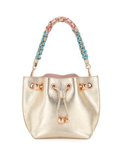 Romy Mini Metallic Leather Bucket Bag with Braided Handle