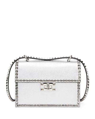 Rockstud No Limit Small Metallic Leather Shoulder Bag