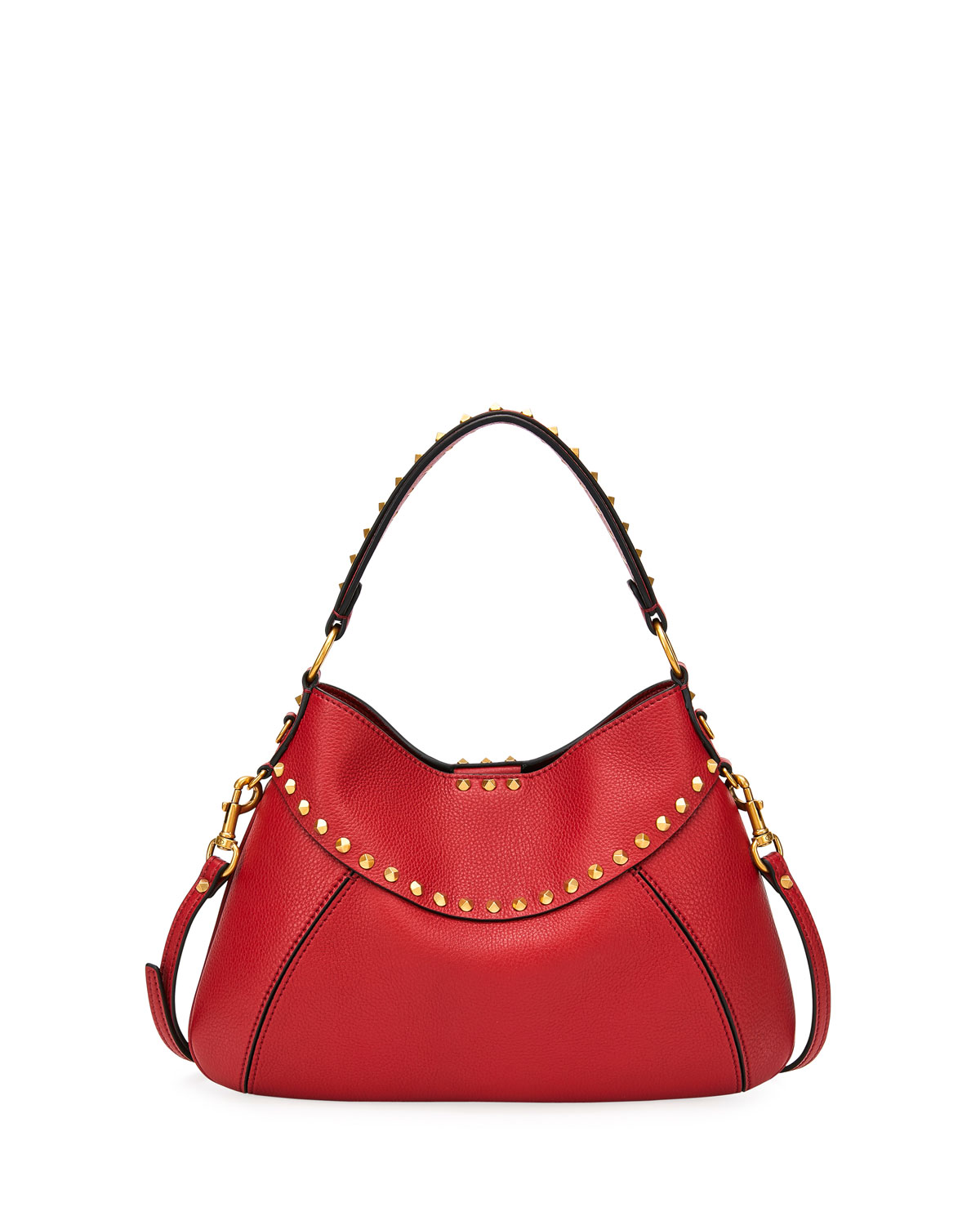 Valentino Leathers TWINKLE STUDDED SMALL LEATHER HOBO BAG