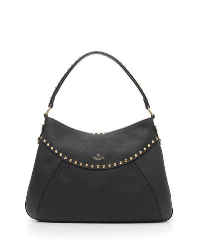 Twinkle Studs Medium Leather Hobo Bag