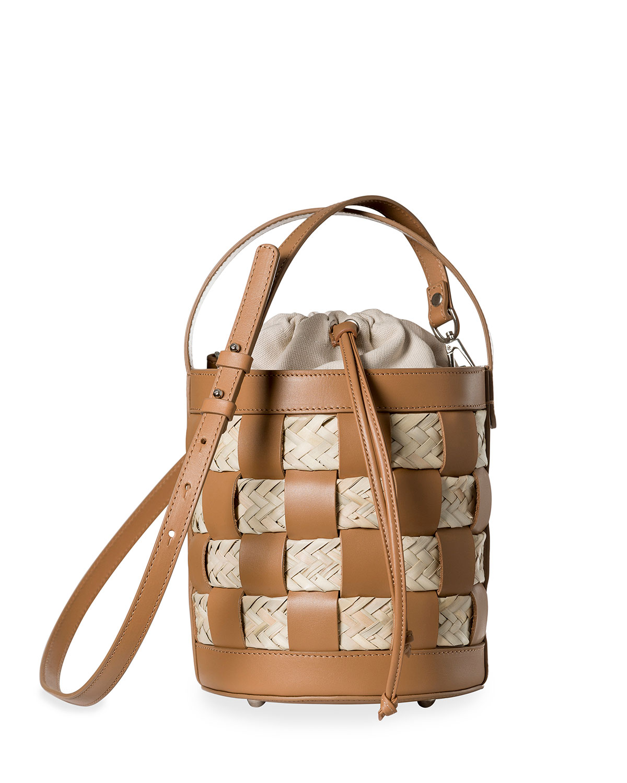 HEREU Galleda Leather & Straw Woven Bucket Bag in Saddle