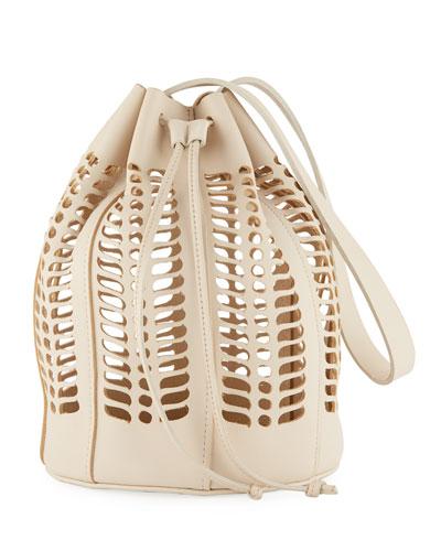 Leather Jute Die-Cut Bucket Bag