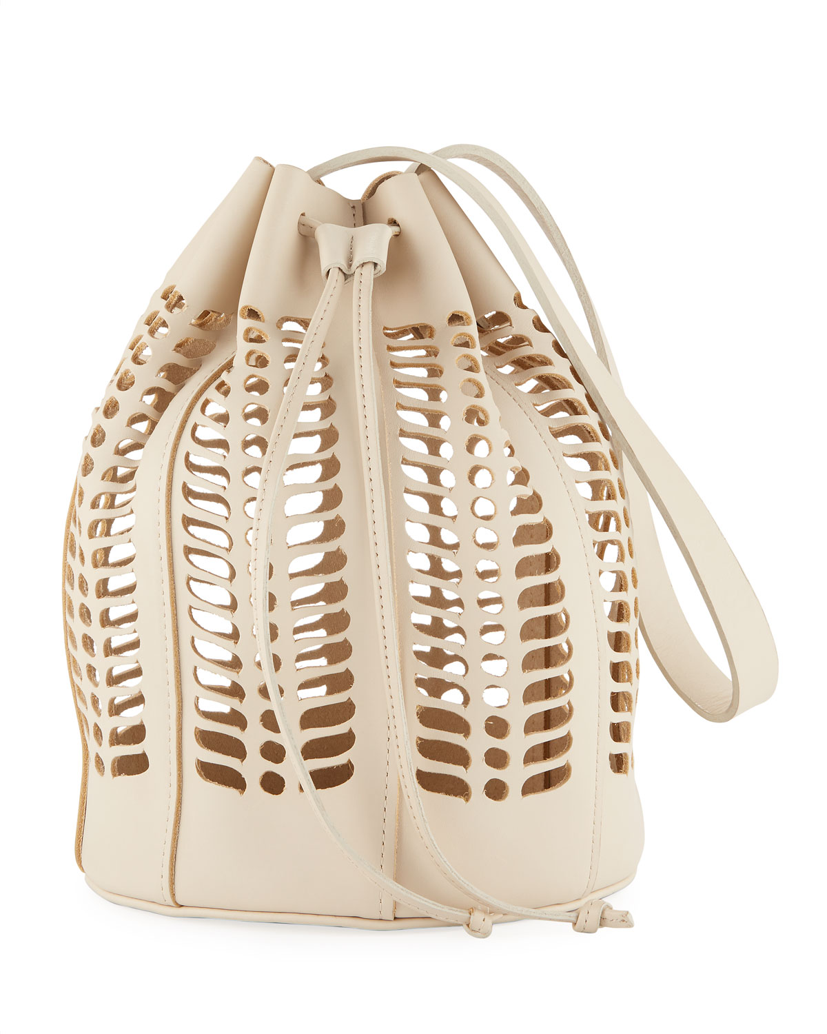 Leather Jute Die-Cut Bucket Bag
