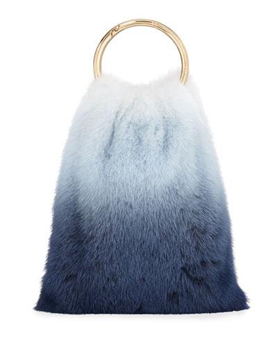 Furrissima Ombré Mink Top Handle Bag, Blue