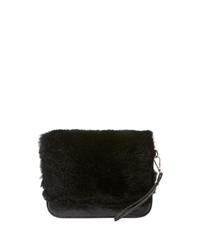 Girls' Fur Clutch Bag, Black