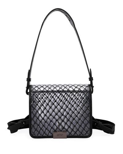 PVC Net Flap Crossbody Bag, Black