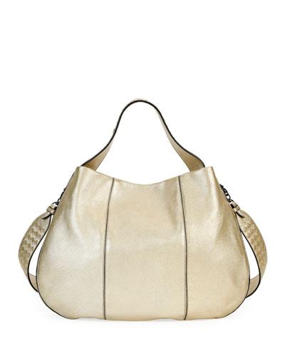 28c099d6454e City Veneta Large Metallic Leather Hobo Bag