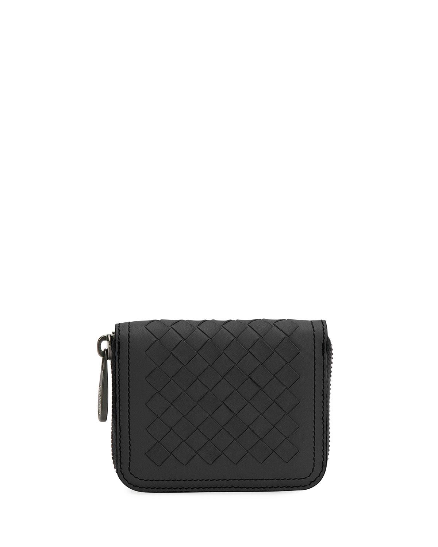 Mini Leather Zip Wallet, Black