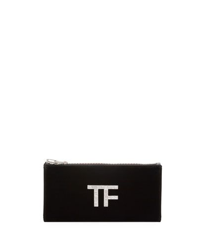 Velvet Clutch Bag with Crystal TF Logo