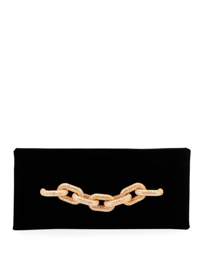 Velvet Pave Chain Clutch Bag