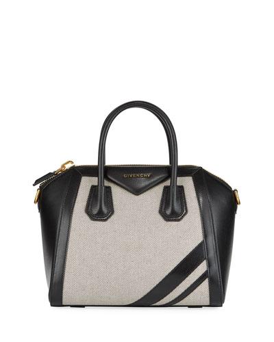 Antigona Leather & Canvas Satchel Bag