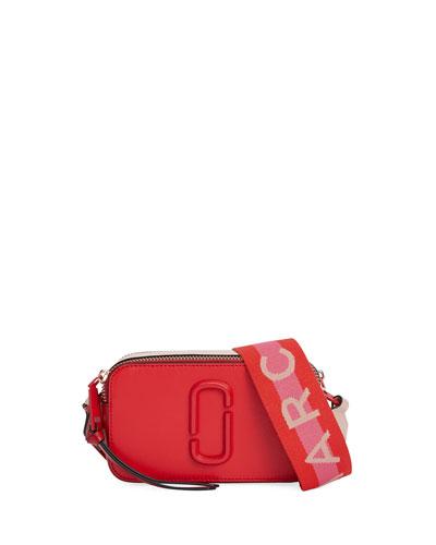 Snapshot Dual-Tone Leather Crossbody Camera Bag