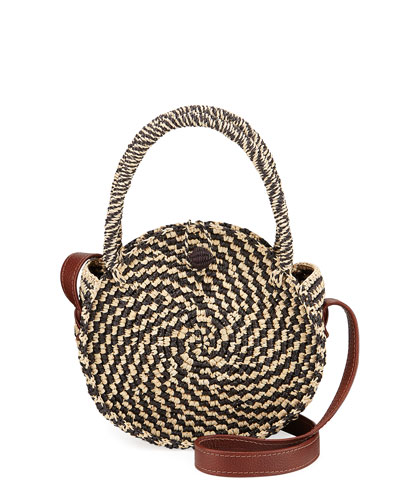 Two-Tone Straw Round Top Handle Bag