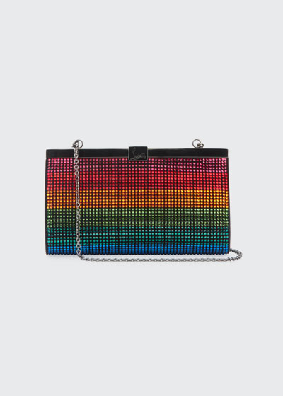 Palmette Small Rainbow Crystal Suede Clutch Bag