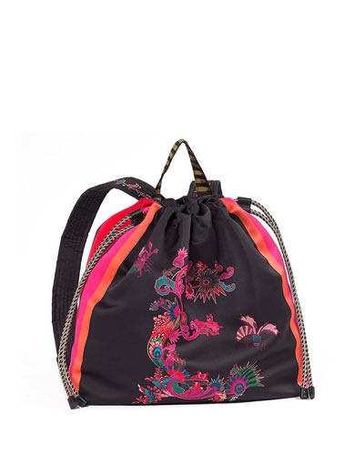 Printed Fabric Backpack