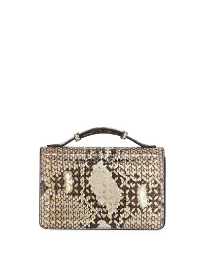 Python Cutout Crossbody Clutch Bag